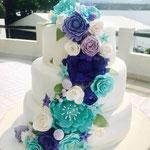Pastel para Boda en cuernavaca morelos de 3 pisos color azul y verde