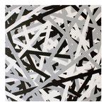 O.T. (SCHWARZ WEIß GRAU), 2018, Reparaturband auf Leinwand, 100 x 100 cm