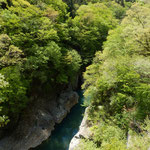 吾妻川を遡っていくと、岩崖が迫り、大変狭い渓谷が見えます。