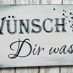 Holzschilder Shabby-Look Wünsche dir was Vintage