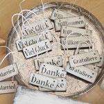 Holzschilder Shabby-Look Anhänger Danke Gratuliere Just married Viel Glück Willkommen Vintage
