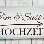 Holzschilder Shabby-Look Hochzeit Vintage Wegweiser Namen Brautpaar
