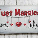 Holzschilder Shabby-Look Vintage Just Married Namen Brautpaar Geschenk Überraschung
