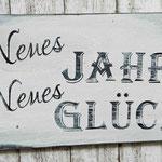 Holzschilder Shabby-Look Neues Jahr Glück Vintage