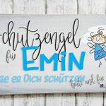 Holzschilder Shabby-Look Vintage Junge Taufe Geburt Schutzengel Türschild Name Kind Namensschild blau Namenschild Geschenk