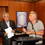 HEnri Savary président du comité duCorse de Rugby et J.-J. Allegrini-Simonetti maire de L'Ile-Rousse