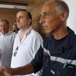 Le majorAntoine Mamberti pendant la visite des nouveaux locaux avec le président du Sdis, le maire de Saint-Florent et le colonel Baldassari