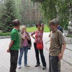 op weg naar de bus naar Teletskoye lake