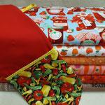 Ofenhandschuh: 25cm Baumwollstoffe, Schrägband, Thermolam und Volumenvlies