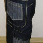 Jeans: Stoff größenentsprechend (etwa 1x Beinlänge), Jeans-/Knopflochgarn für Kontrastnähte, evtl. Label/ Webband, 20cm Bündchenware
