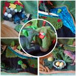 Speillandschaft Dinosaurier: Filz, Stoffreste, Wollreste, Knöpfe, Filzkugeln, Füllwatte