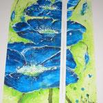 Aquarell Blauer Mohn 70x100