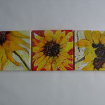 Trilogie aus Sonnenblumen;