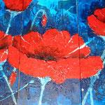 Triptychon Mohn - blau; 80x140