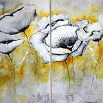 weiße Blüten, zweiteilig 120x90