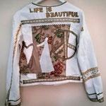 "Baumwolljacke weiß, ""Life is beautiful"",  M 16"