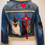 """Winter-Jeansjacke """"Jesus loves you"""""""