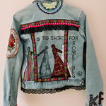 "Jeansjacke, ""life is too short for sometimes"""