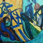 De près et de loin en tous sens - Skates et cie, 2012, toile sur châssis, 35x27 cm