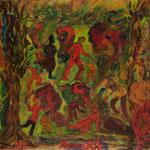 Figures vert et rouge en sous-bois, 18x16,2 cm