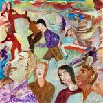 Marcheurs et acrobates, 2007, miniature, 12x12 cm