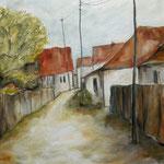 Dorfstraße in  Siebenürgrn, 2018, Öl auf Leinwand, 50x50cm