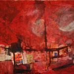 Rot mit Mond, 2013, Collage auf Leinwand, 40x30cm
