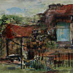 Feldscheunen, 2017, Collage, 31x25,5cm, verkauft