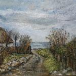 Weg zum Meer / Vitt, Rügen, 2019,Öl/Collage auf Leinwand, 60x50 cm