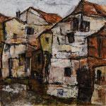 Bauernhäuser, 2016,Acryl/Collage auf Leinwand, 60x60cm, verkauft