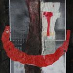 Überfahrt II, 2004, MT/Collage, 27x37cm