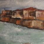Siracusa, 2018, Öl/Collage auf Leinwand, 90x30cm