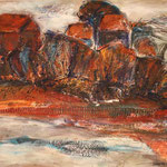 Herbstufer, 2013, Acryl/Collage auf Leinwand, 50x40cm