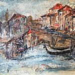 Venezia,2019, Collage auf Hartfaserplatte, ca. 50x53cm