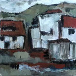 Dorf,2015, Acryl auf Leinwand, 3x40x40cm