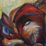 Rotes Haus und Mond, 2008, Acryl auf Leinwand, 60x80cm