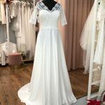 Brautkleid, Hochzeitskleid, Boho, Satinrock, Häkelspitze, Gr. 40, Musterkleid