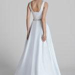Brautkleid, Clean-Dress, A-Linie, Satin, Glitzergürtel