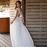 Brautkleid mit Häkeloptik Spitze, Chiffonrock,   Vintage - Boho Stil