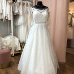 Brautkleid, Hochzeitskleid Gr. 44,  Tattoospitze, Tüllrock, lange Ärmel,