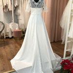 Brautkleid, Hochzeitskleid, Boho, Satinrock, Häkelspitze, Gr. 40, Musterkleid 580,00 Euro