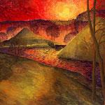 Sonnenuntergang bei den Pyramiden im Schlosspark Branitz (Wasserfarben auf Karton / 1996)