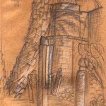 Stillleben mit Skulpturen, Kanonenkugeln, Grabplatten und Palme hinter Moschee (Ikonenrestaurierungswerkstatt) in Rethymnon
