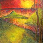 Sonnenuntergang bei den Pyramiden im Schlosspark Branitz (Ölmalerei auf Spannplatte / 1996)