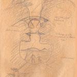 Liebesbrücke - inspiriert durch Bergklippen am Mittelmeer (Bleistiftskizze auf farbigem Papier meines Reiseskizzenbuches Kreta 2000)