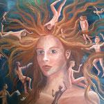 Das Mädchen mit den roten Haar (Ölmalerei auf Spannplatte / B x H ca. 130 x 105 cm / 2007)