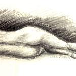 Aktstudie Rückenpartie (Kohle & Bleistift auf Karton)