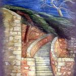 Steintreppe an dem Stadtfestungsberg von Rethymnon