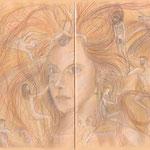 Das Mädchen mit den roten Haar (Buntstift/Pastell auf farbigem Papier / 2000)