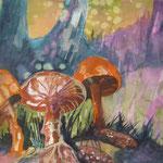 Pilzfamilie, 48 x 38 cm, verkauft